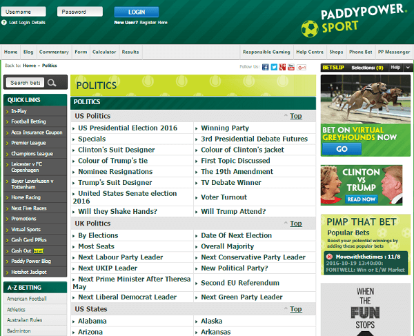 Paddy power politics constituency betting on sports julijo investments pants
