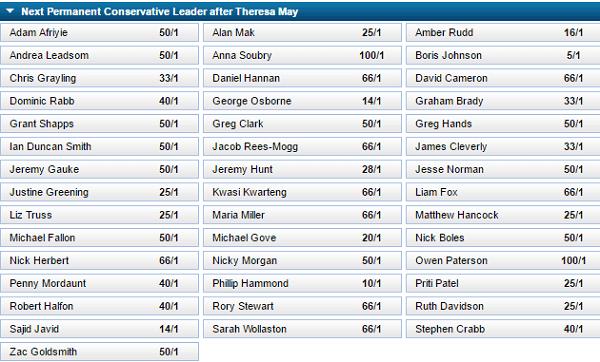 Next Tory Leader Odds