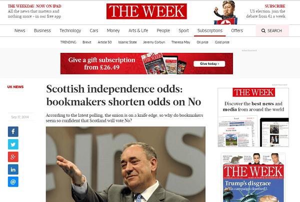 Odds On Scotland Referendum