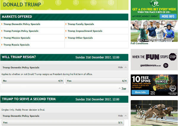 Paddy Power American Election Betting Odds