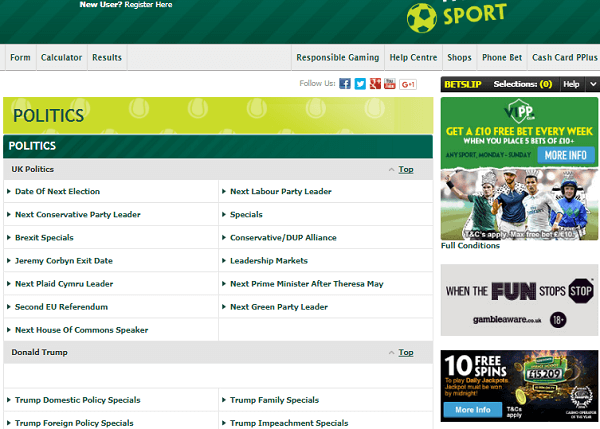 Paddy Power Betting Political Odds