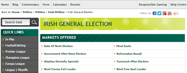 Paddy Power Odds On Irish Politics Events
