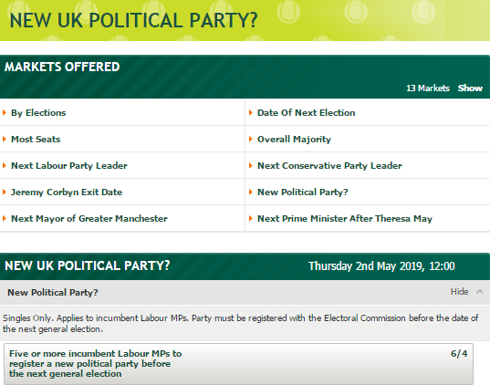 Paddy Power Political Odds