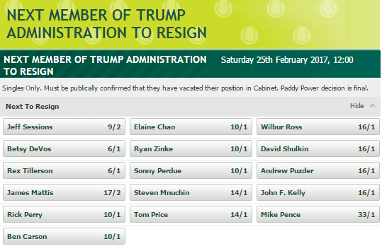 Paddy Power US Election Next Member