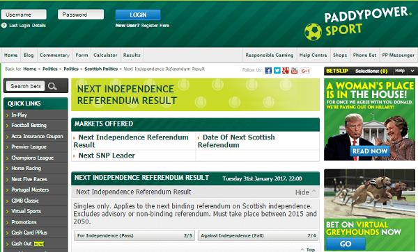 Scotland Referendum Odds