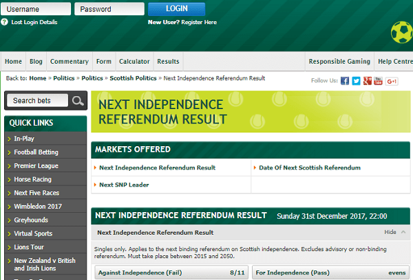 Scottish Referendum Betting