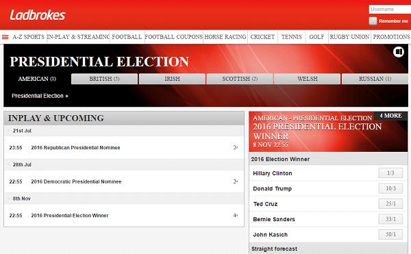 Ladbrokes betting us presidential election