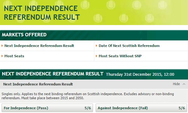 Bet scottish referendum results